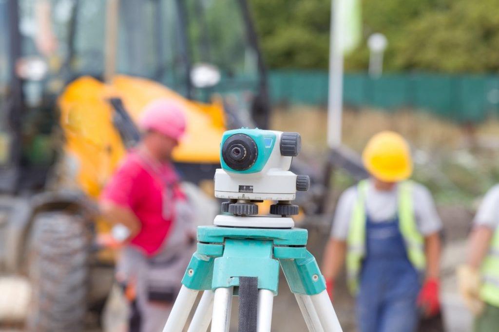 Laser auf Baustelle